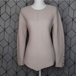 ALFANI Metallic Beige Ribbed Tunic Sweater PL